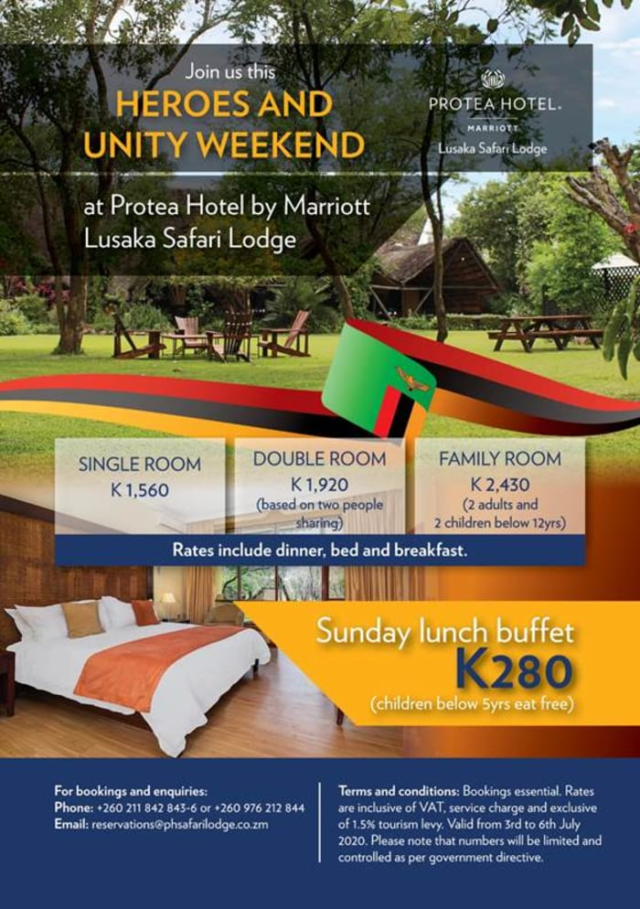 Join Protea Lusaka for Heroes and Unity weekend special