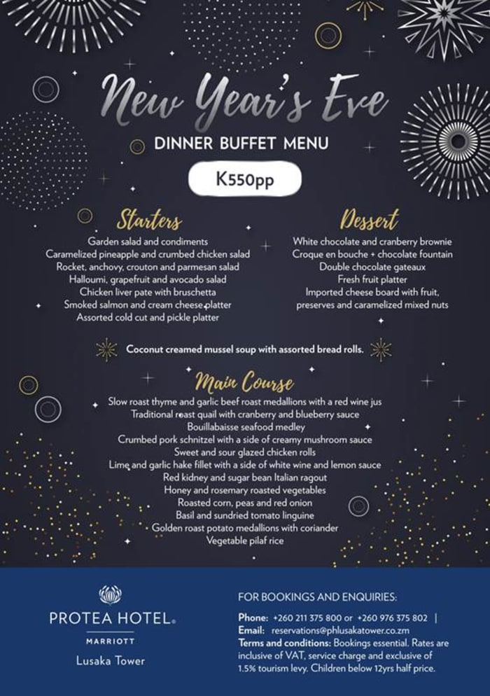 New Year's Eve special buffet at Lusaka Tower