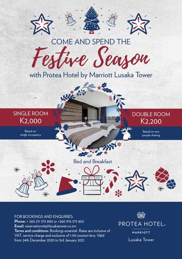 Come spend the festive season with Protea Hotel by Marriott Lusaka Tower
