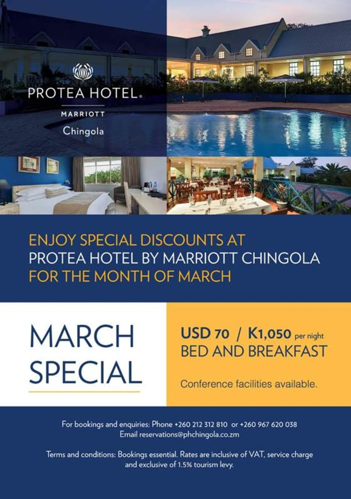 Enjoy special discounts at Protea Hotel by Marriott Chingola for the month of March