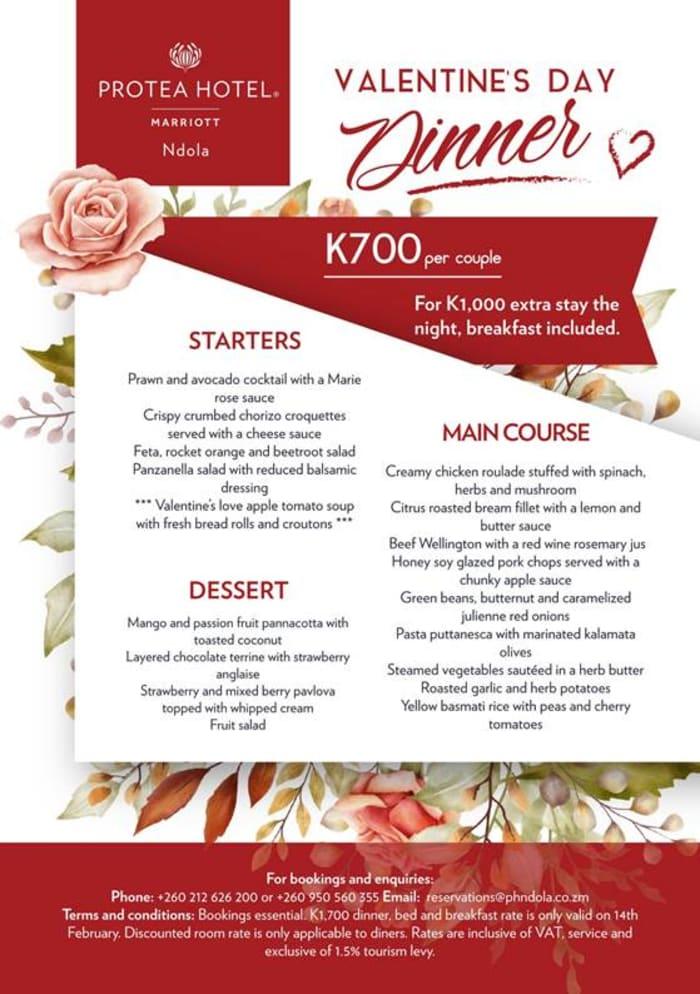 Protea Ndola Valentines Dinner + optional Overnight Package