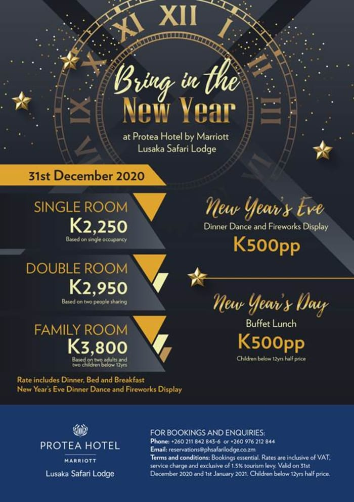 New Year's Eve Dinner Dance at Protea Marriott Hotel - Lusaka Safari Lodge