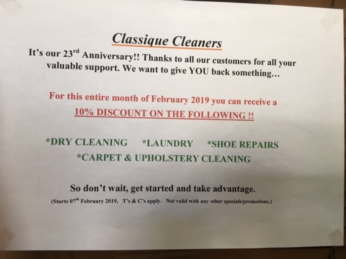 10% off range of services, including dry cleaning