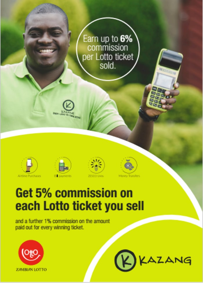 Earn 5% commission on lottery tickets as a Kazang agent