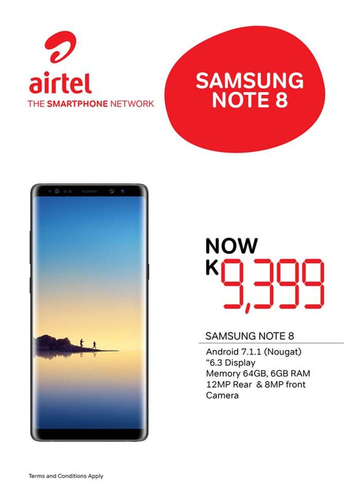 Samsung Note 8 phone available from Kitwe outlet