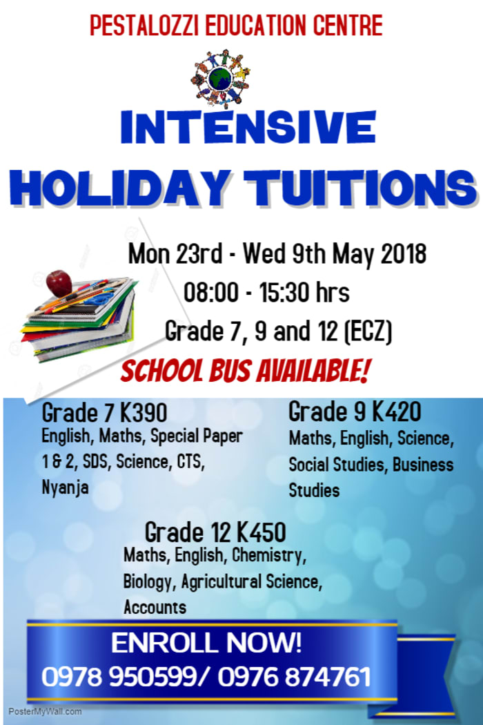 Intensive holiday tuition for grade 7, 9 and 12
