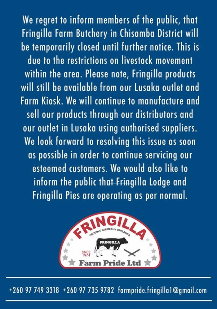 Fringilla Farm butchery temporarily closed