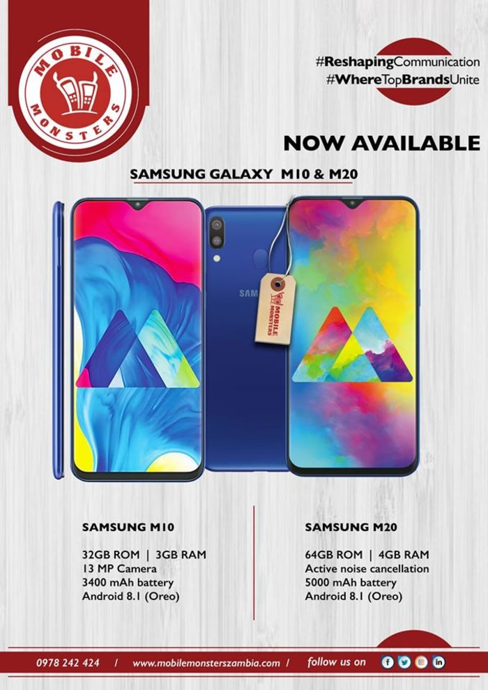 Now in stock Samsung Galaxy M10 and M20