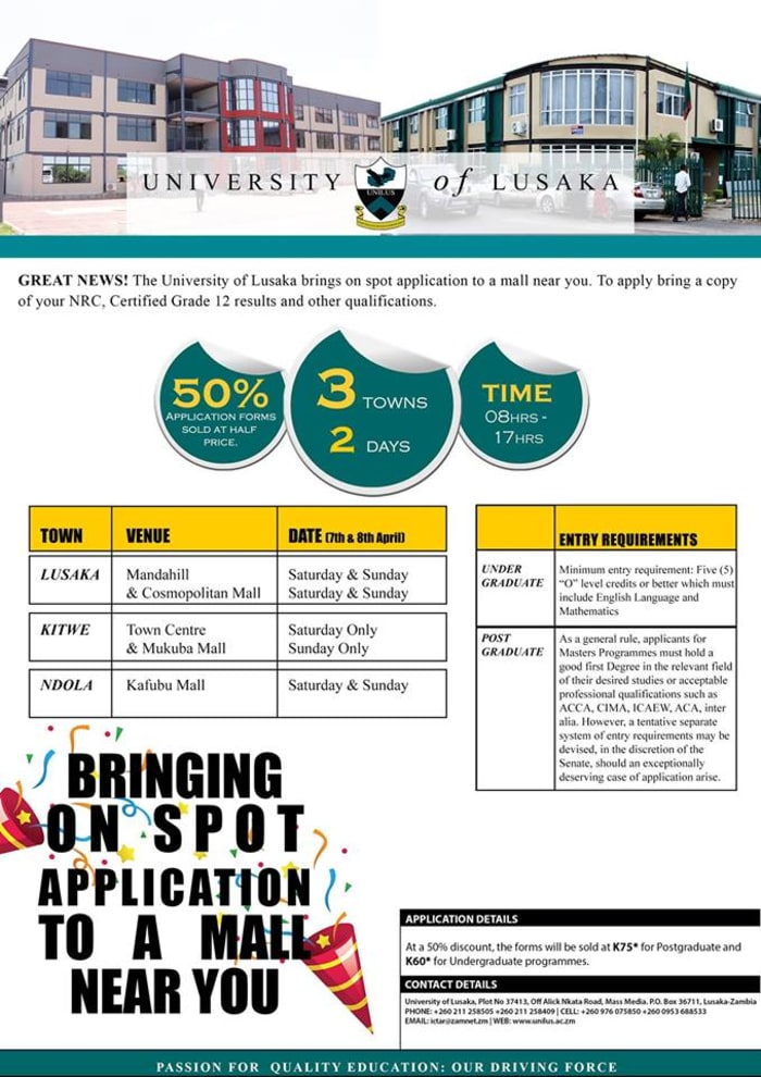University of Lusaka on spot applications
