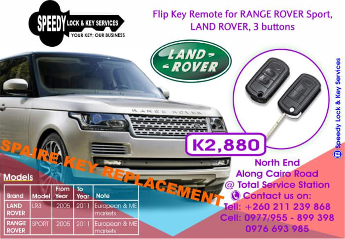 Flip key remotes for Range Rover's and Land Rover's