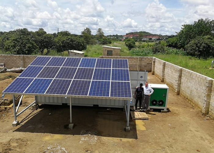100% solar cooling container system installed