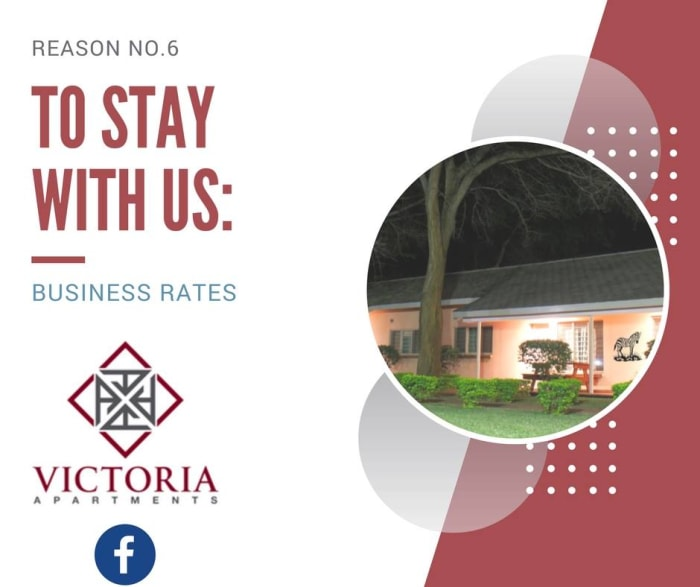 Business accommodation rates at the Victoria Apartments