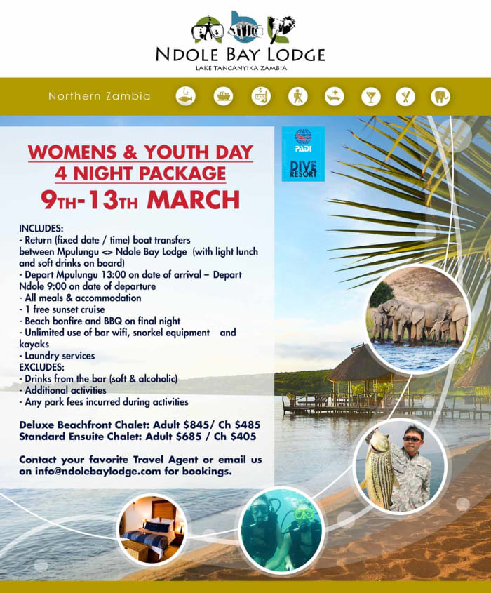 Womens Day & Youth Day Holiday Package at Ndole Bay Lodge