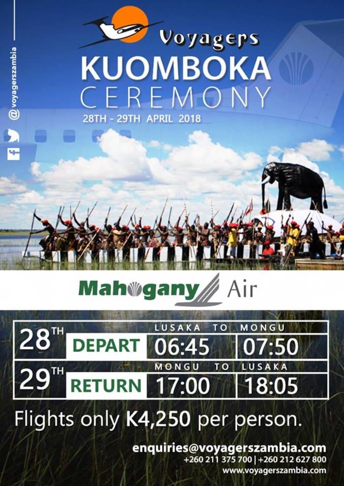 Flights for the Kuomboka Ceremony