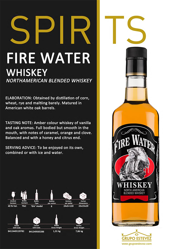 Now available from Supergold Vending - Spirits Fire Water Whisky