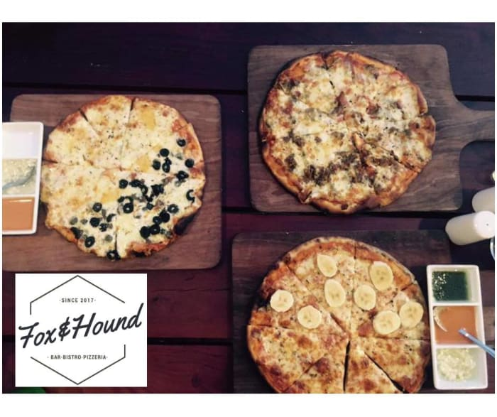 Pizza with the topping of your choice at Fox and Hound