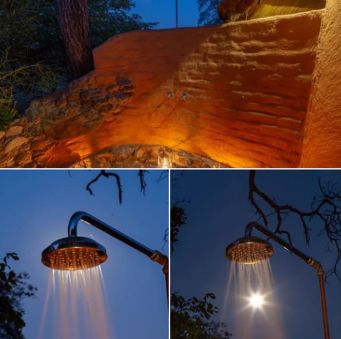 Take an outdoor shower under the moon at Kaingu Lodge