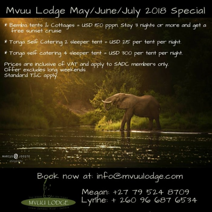 Mvuu Lodge May/June/July 2018 Special