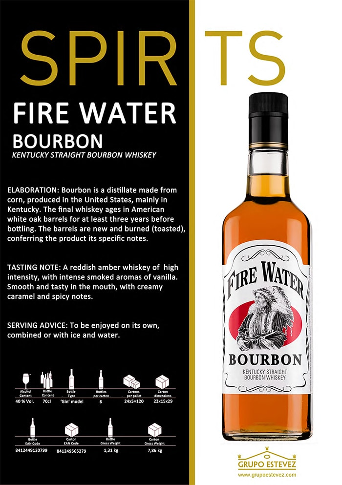 Now available from Supergold Vending - Spirits Fire Water Whisky Bourbon