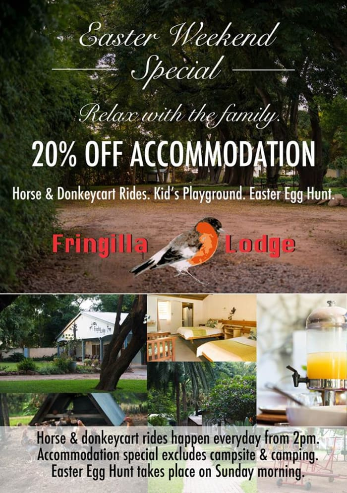 Easter weekend special: 20% off accommodation