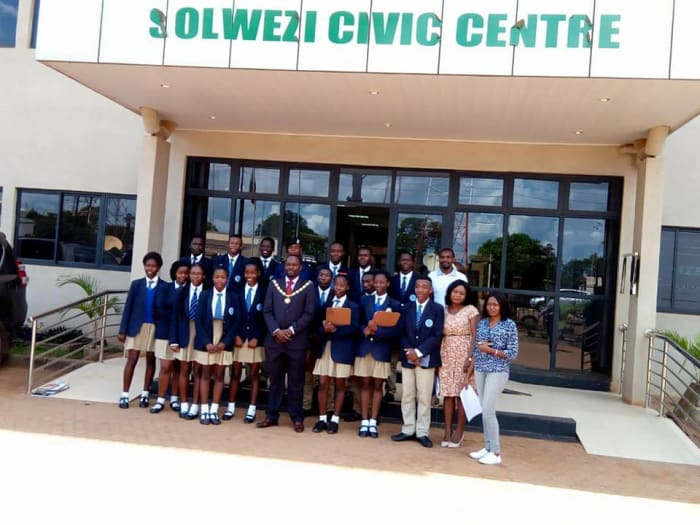 Students visit the Solwezi Civic Center and meet the mayor