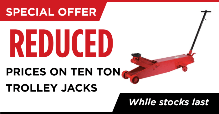 Discounted Ten Ton trolley Jacks