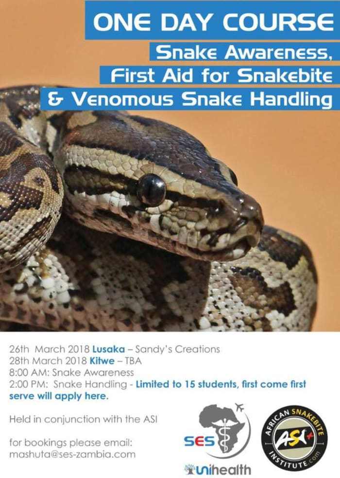 Snake awareness, first aid and venomous snake handling course
