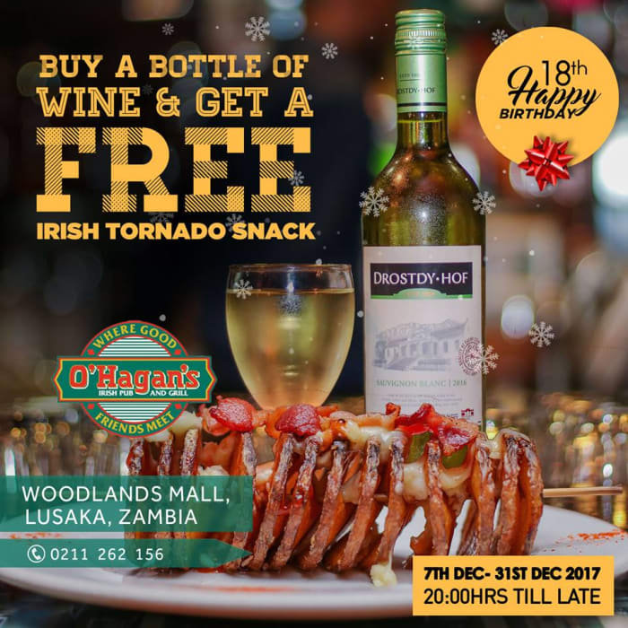 Buy a bottle of wine and get a free Irish tornado snack