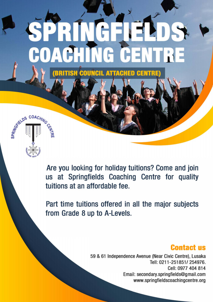 Holiday tuitions available at Springfields Coaching Centre