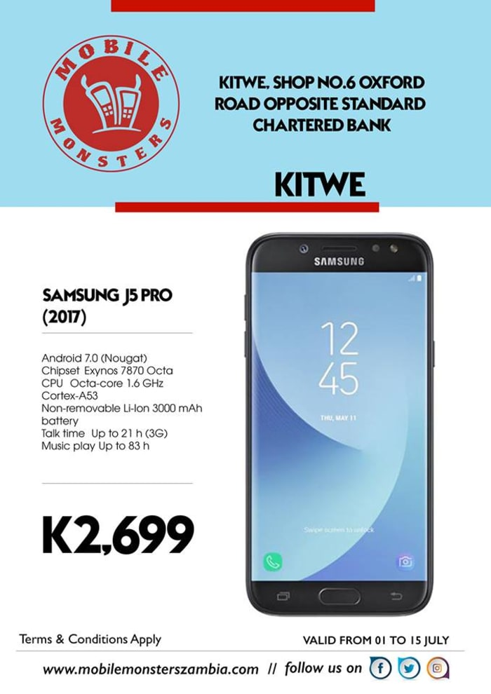 Samsung Galaxy J5 phone available from Kitwe outlet
