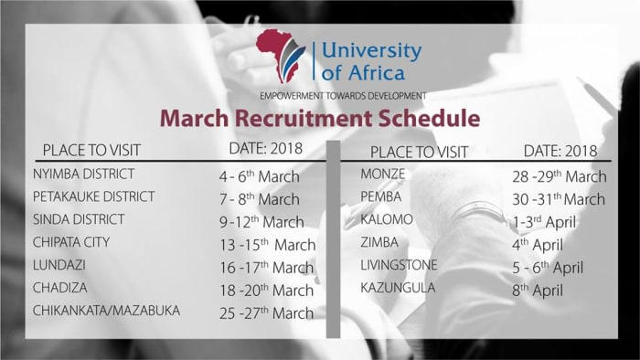 UOA Recruiters to visit towns in Zambia this March