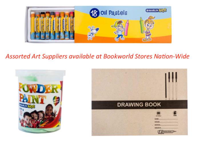Assorted art supplies new in stock