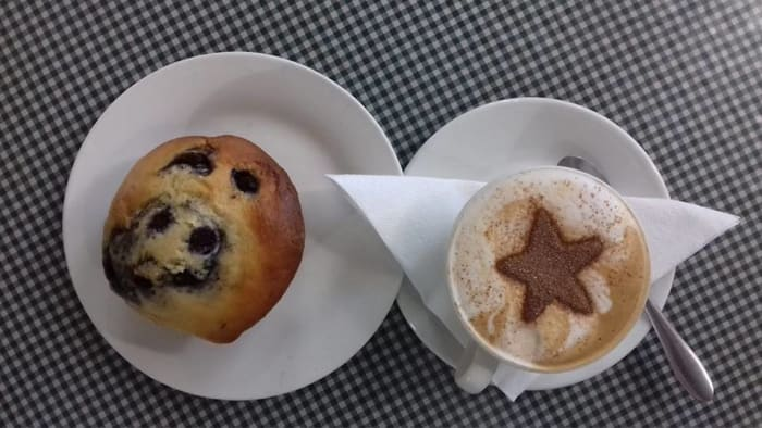 Muffin and cappuccino special