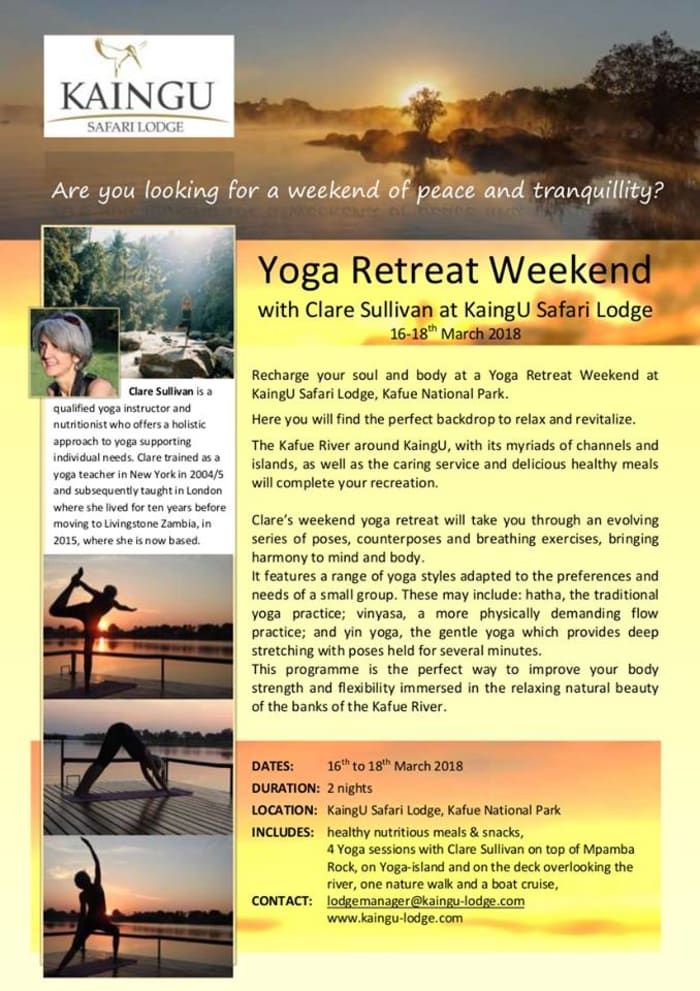 Yoga retreat weekend at KaingU Safari Lodge