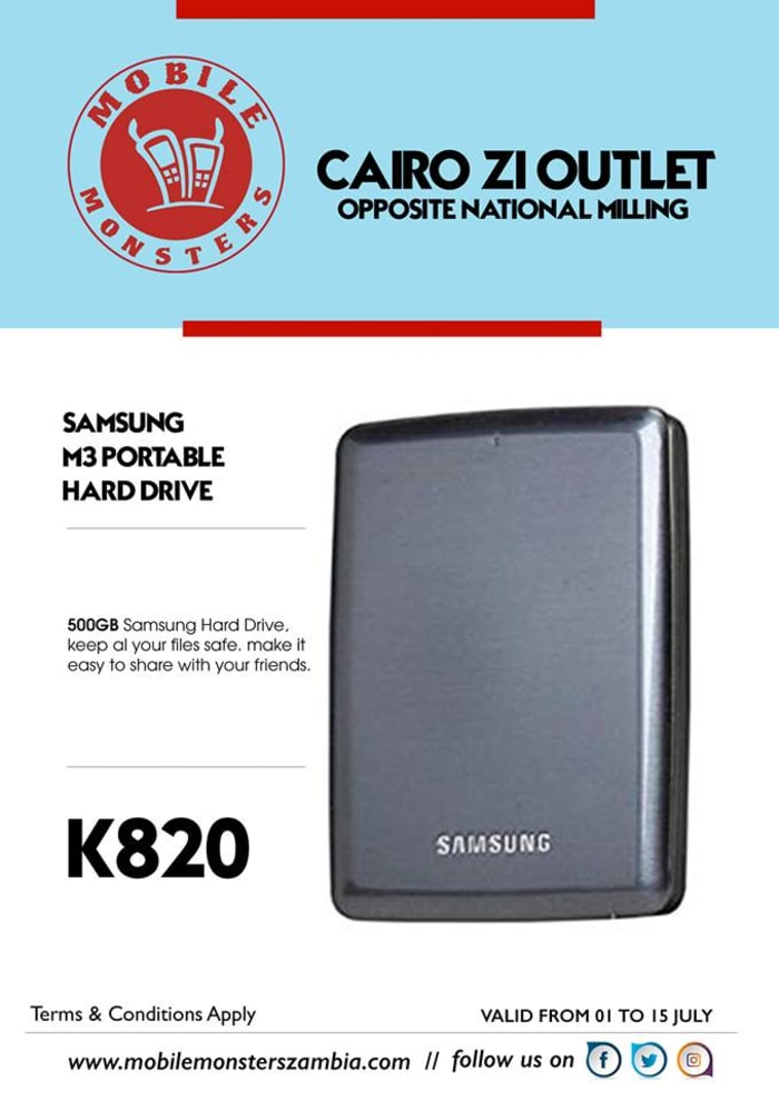 500GB Portable hard drive available in store