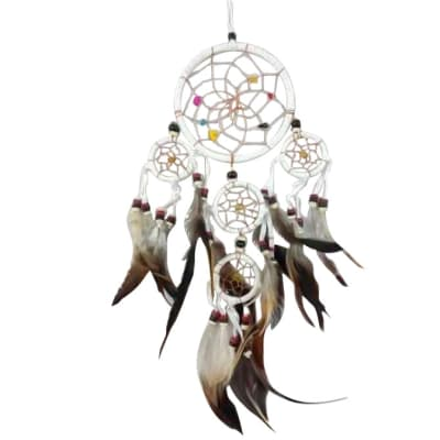 Wall Hanging Dreamcatcher  White 12cm  image