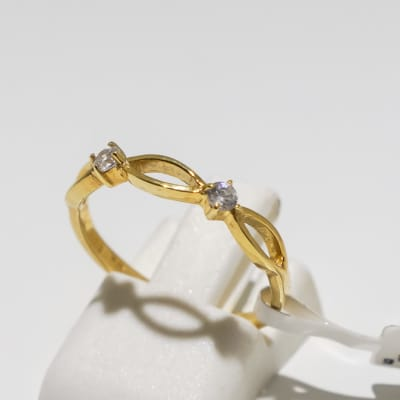 Engagement yellow gold 9k and 2-crystal inter-linked ring image
