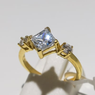 Engagement yellow gold 9k and 3-crown crystal ring image