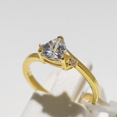 Engagement yellow gold 9k swarovski crystal ring image