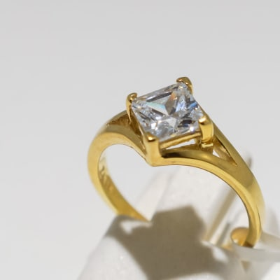 Engagement yellow gold 9k and crystal square crown ring image