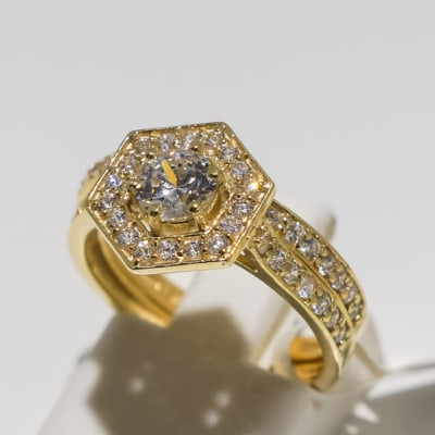 Wedding set yellow gold 9k and crystal ring image