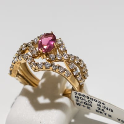 Wedding set pink tourmaline yellow gold 9k and swarovski crystal ring image