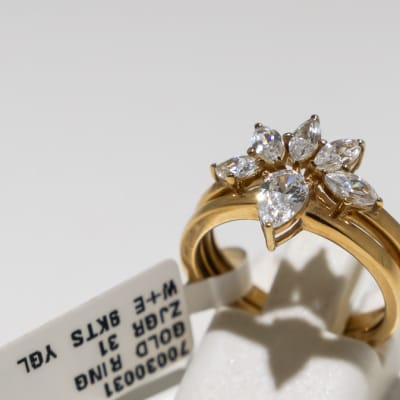 Wedding set yellow gold 9k and 6-crystal 2-band ring image