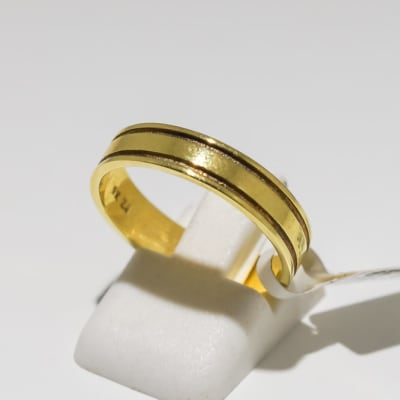 Men's wedding band yellow gold 9k ring with two grooves image