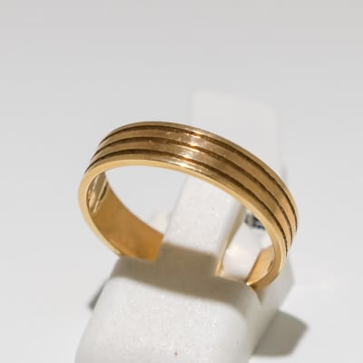 Men's wedding band yellow gold 9k ring with three grooves image