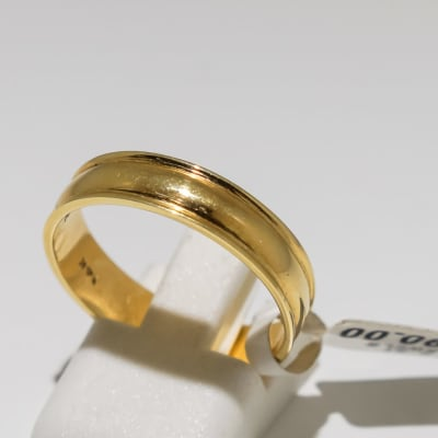 Men's wedding band yellow gold 14k ring image