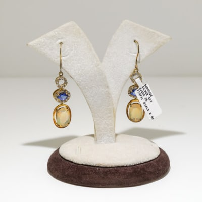 Gold topaz tanzanite and crystal oval earrings image