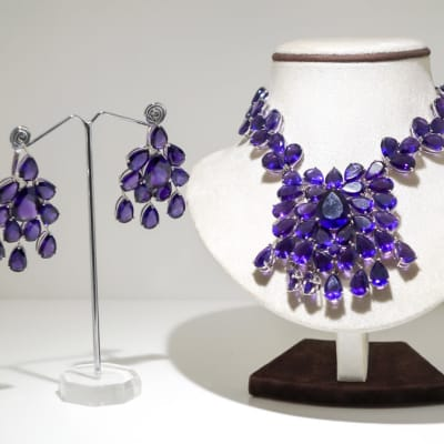 Silver amethyst gem earring and necklace set image
