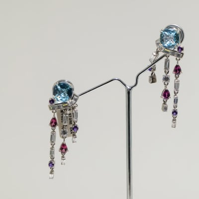 Silver, aqua cushion, amethyst, ruby and crystal earrings image