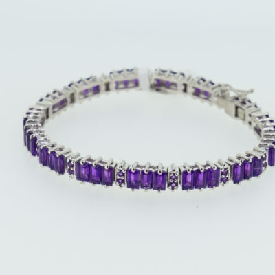 Silver linked chain with amethyst gemstones bracelet image